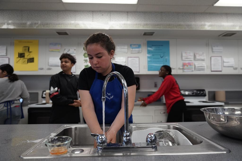 Kitchen cleanup in Culinary Arts