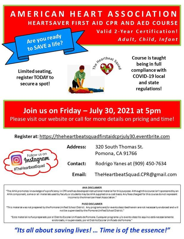 Heartsaver first aid CPR and AED course. Limited seating, register TODAY to secure a spot! Join us on Friday –July 30, 2021 at 5pm Please visit our website or call for more details on pricing and time!