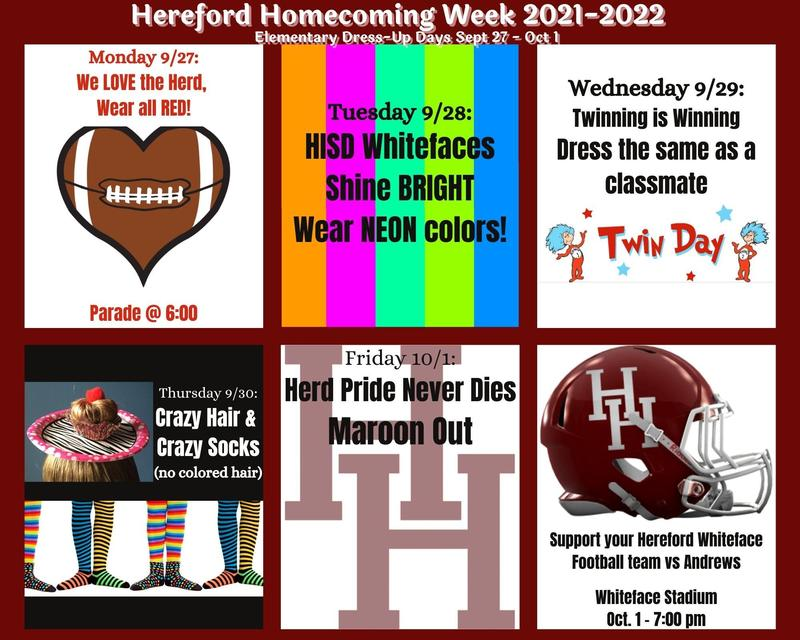 Details for homecoming week.