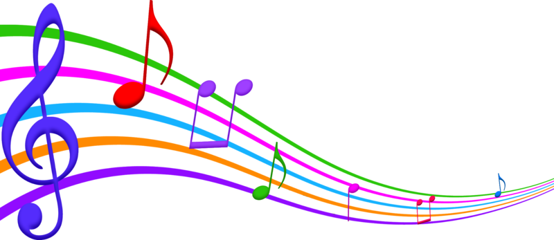 Music notes in purple, red and lime green in between purple, orange, blue, and lime green swirly line