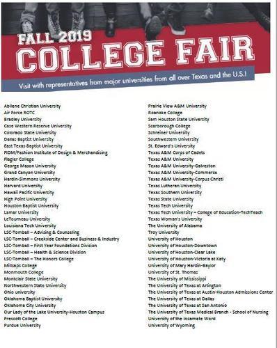 LSC College Fair 2019 Participant List