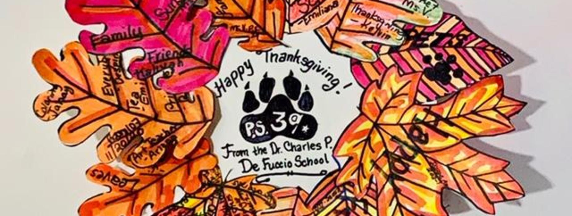 k-3 Art Classes' Gratitude Wreath 2020