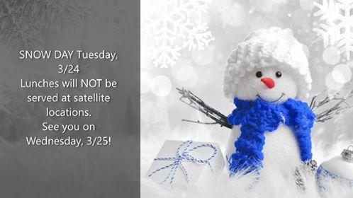 NO SCHOOL LUNCH (OR BACKPACK PROGRAM) TOMORROW (3/24/20) DUE TO SNOW Thumbnail Image