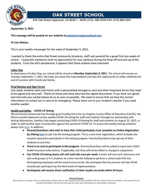 9-5-2021 - Weekly Messenger