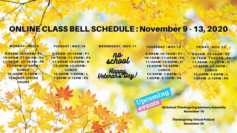 Class Bell Schedule : November 9 - 13, 2020 Featured Photo