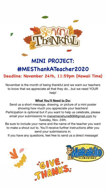MES Thank-A-Teacher Mini Project DEADLINE: NOV. 24, 2020 Featured Photo