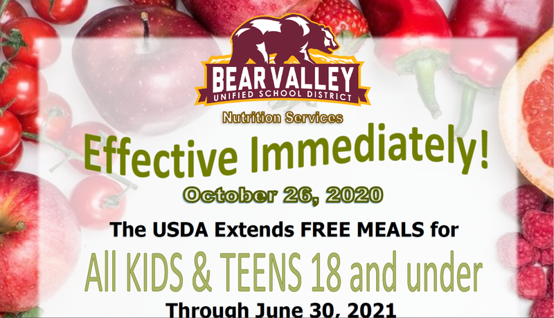 Notifications for free kid meals through June 30, 2021. Featured Photo