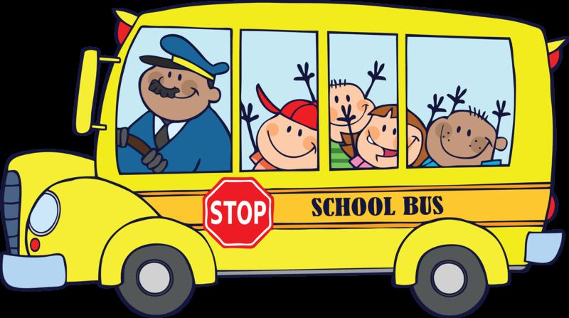 Clip art of school bus with kids.