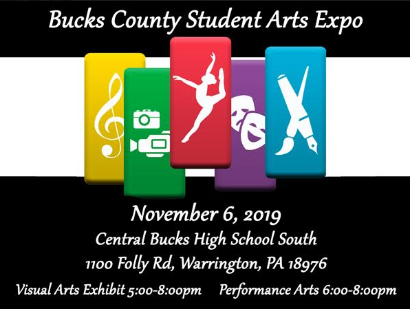 Photo advertising the Bucks County Arts Expo taking place on November 6th at Central Bucks High School.