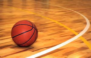 basketball on gym floor