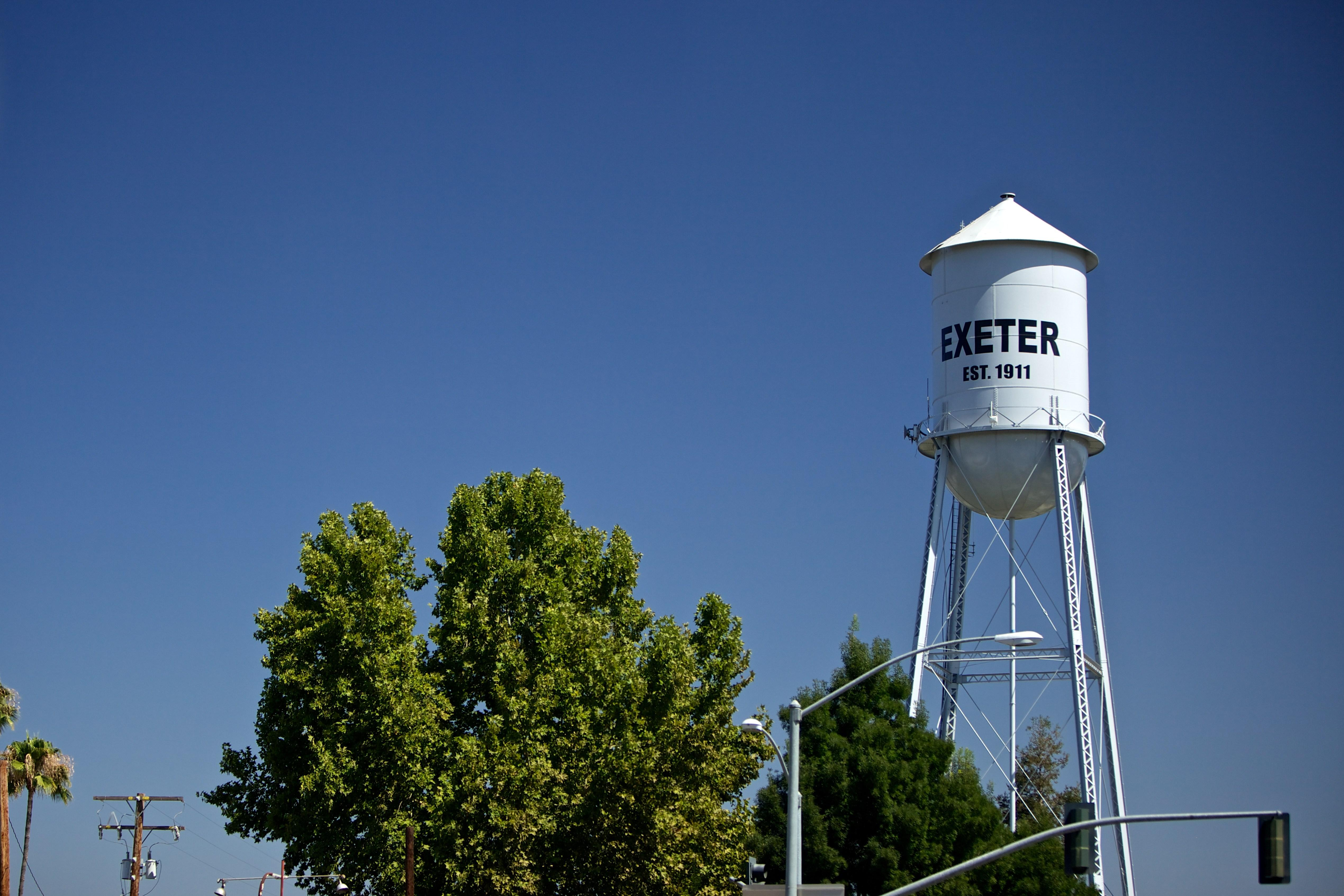 City of Exeter- Close up of Water Tower