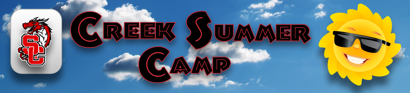 Banner: Creek Summer Camp 2021 with Swartz Creek Community Schools Monogram and smiling Sun with sunglasses