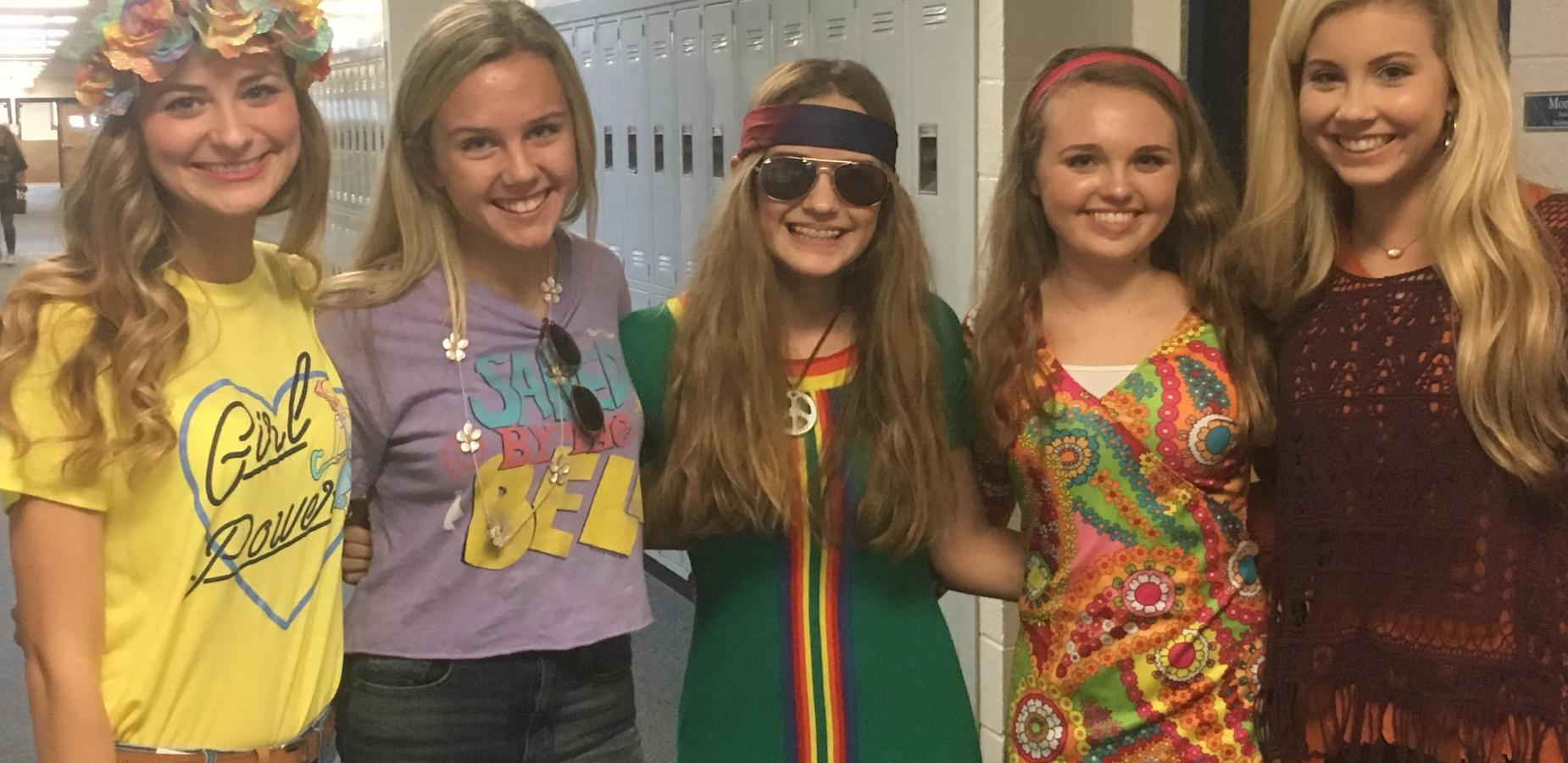 TCHS Students Dressed up for 70's Day