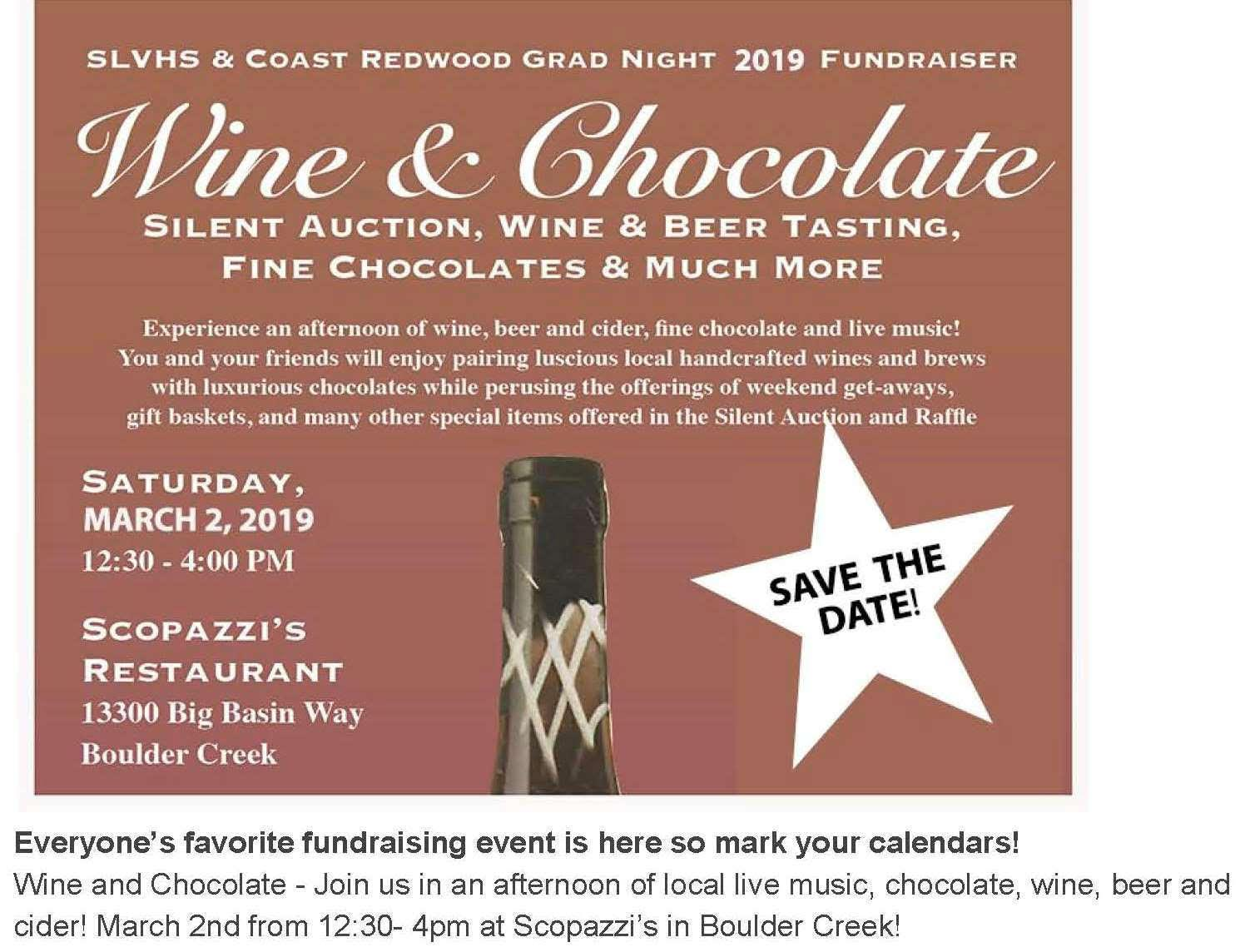 Flyer for Wine & Chocolate Auction 3-2-19