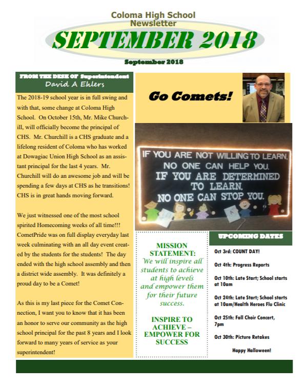 Comet Comments September 2018 Thumbnail Image