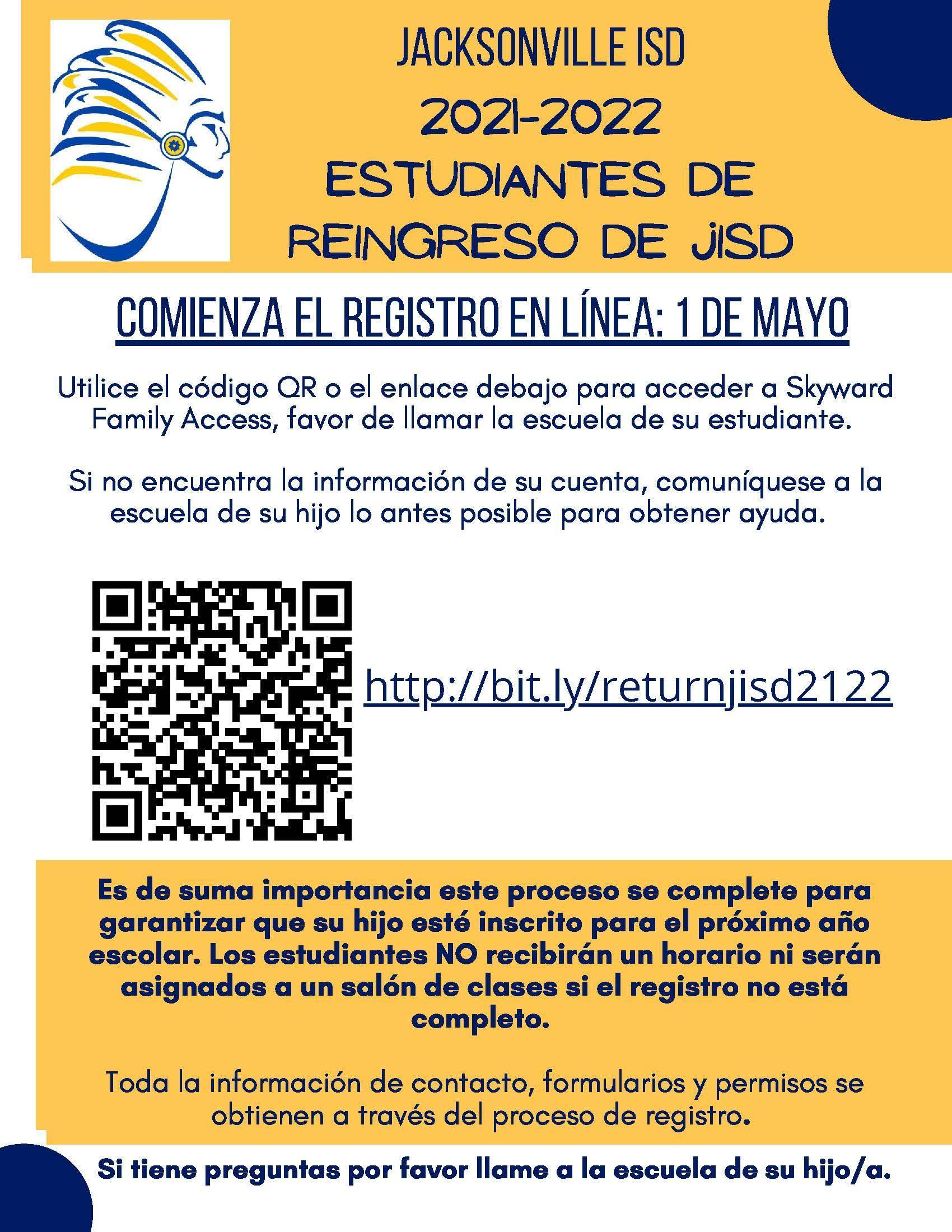 information in spanish reenrollment