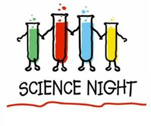 The word science night over tubes in different colors