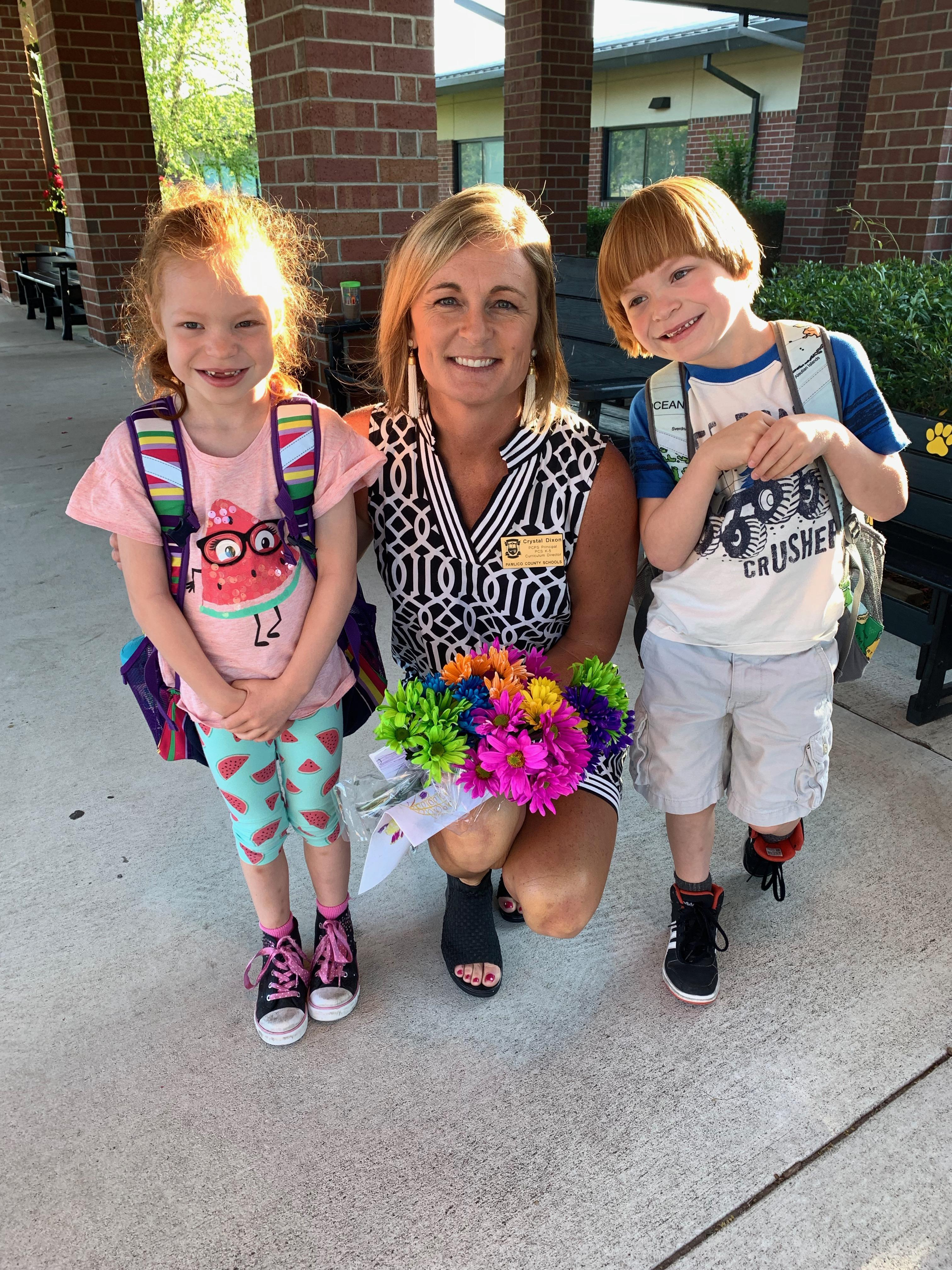Principal with first grade twins