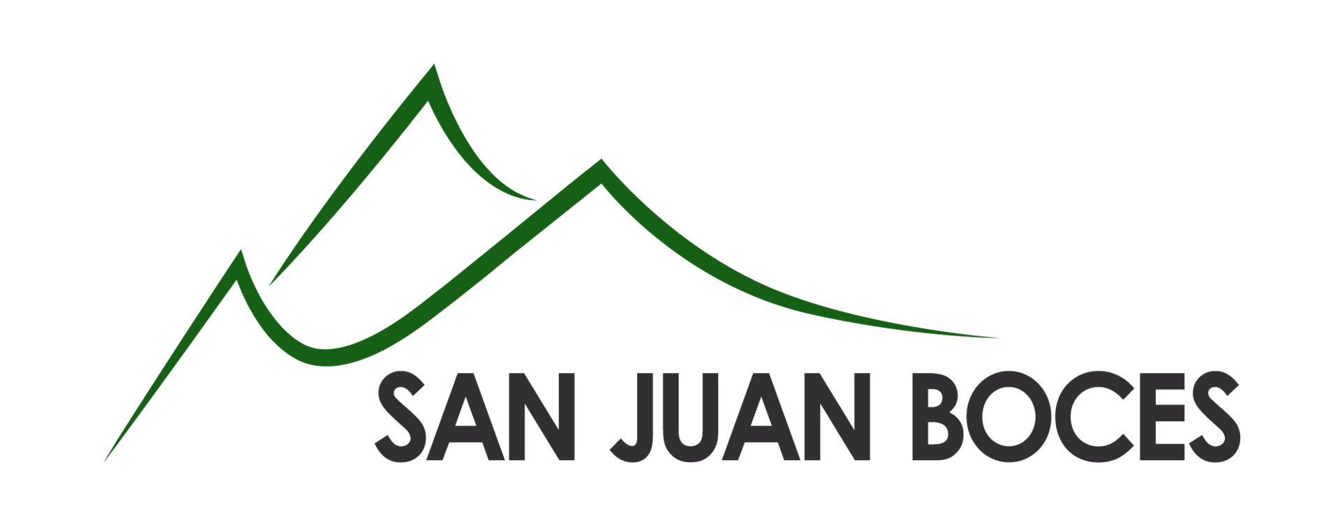 Two green mountains over the text San Juan BOCES