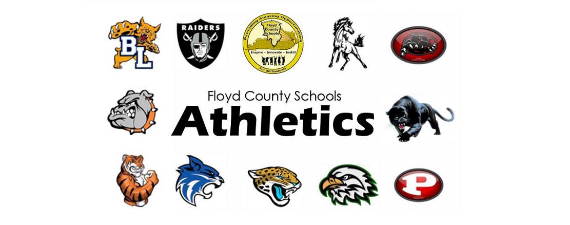 Floyd County Schools Athletics image depicting each schools mascot.