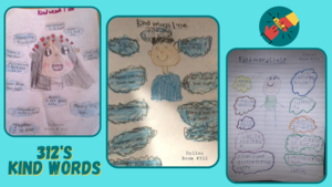 Kind words drawing collage