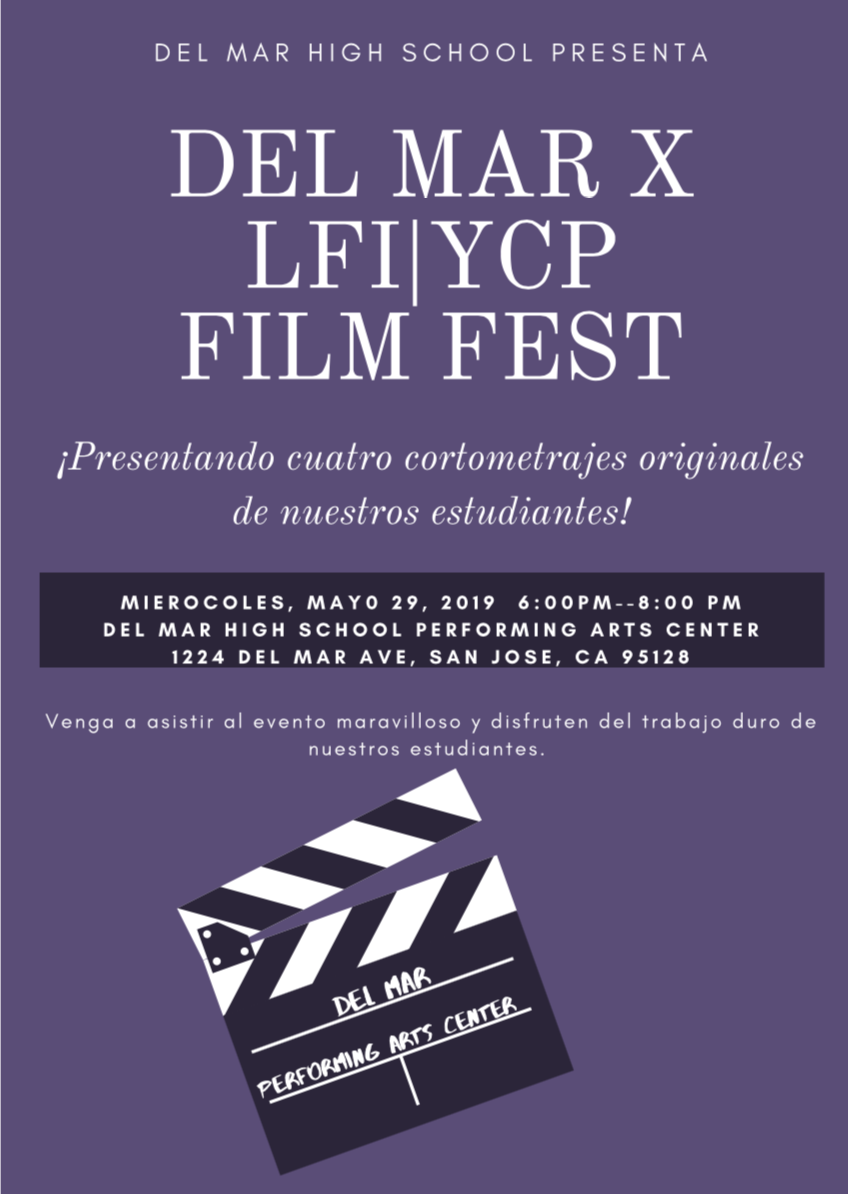 Image of poster for Latino Film Institute / Youth Cinema Project Film Fest on May 29 in Spanish