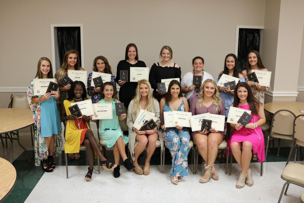 2017 girls soccer team showing certificate awards