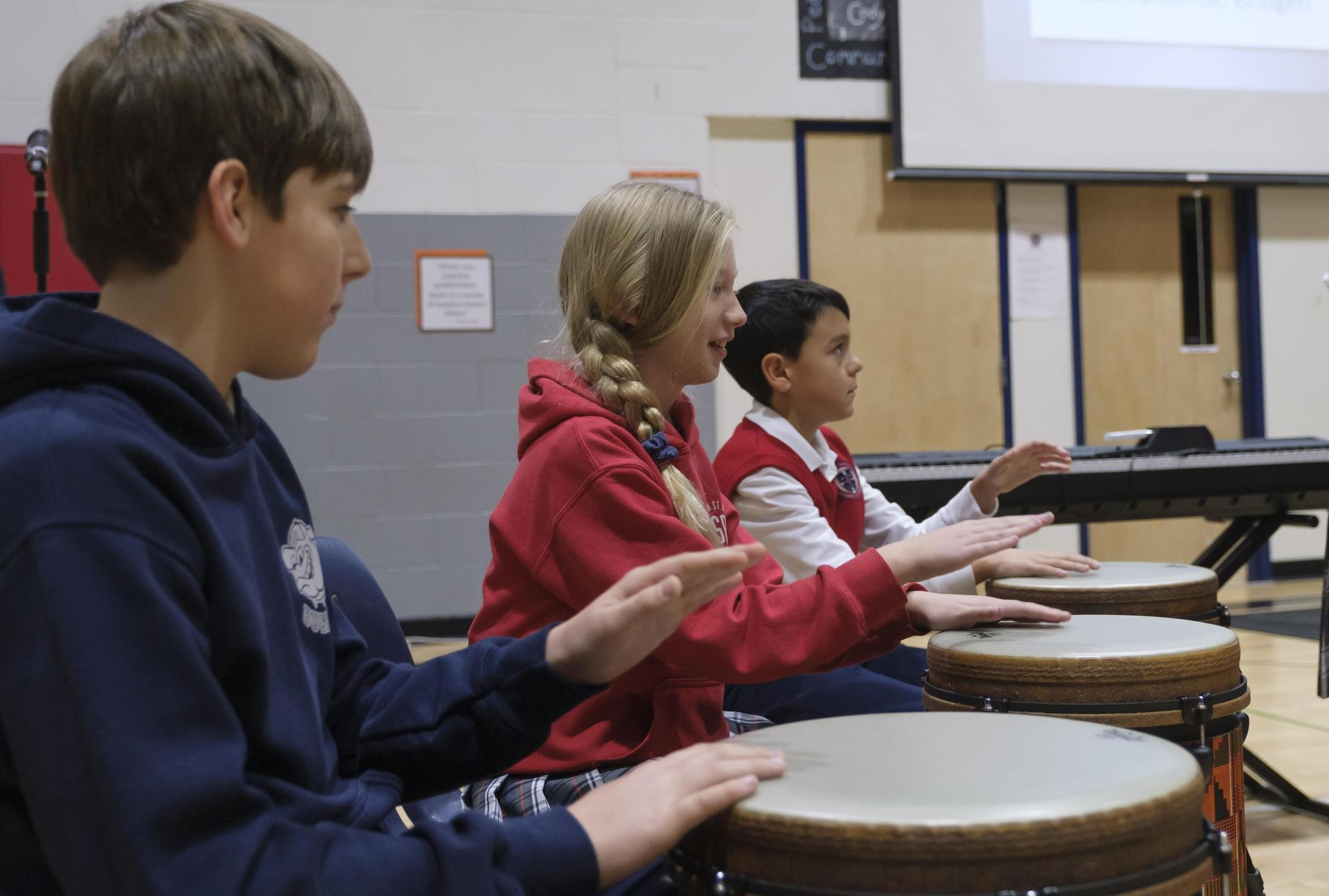 students on drums