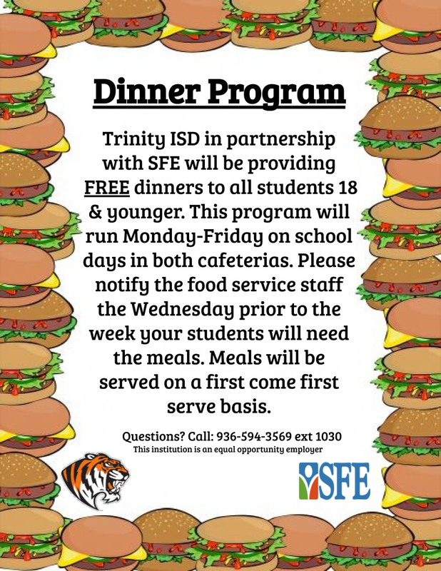 Free Dinners for Students on School Days! Thumbnail Image