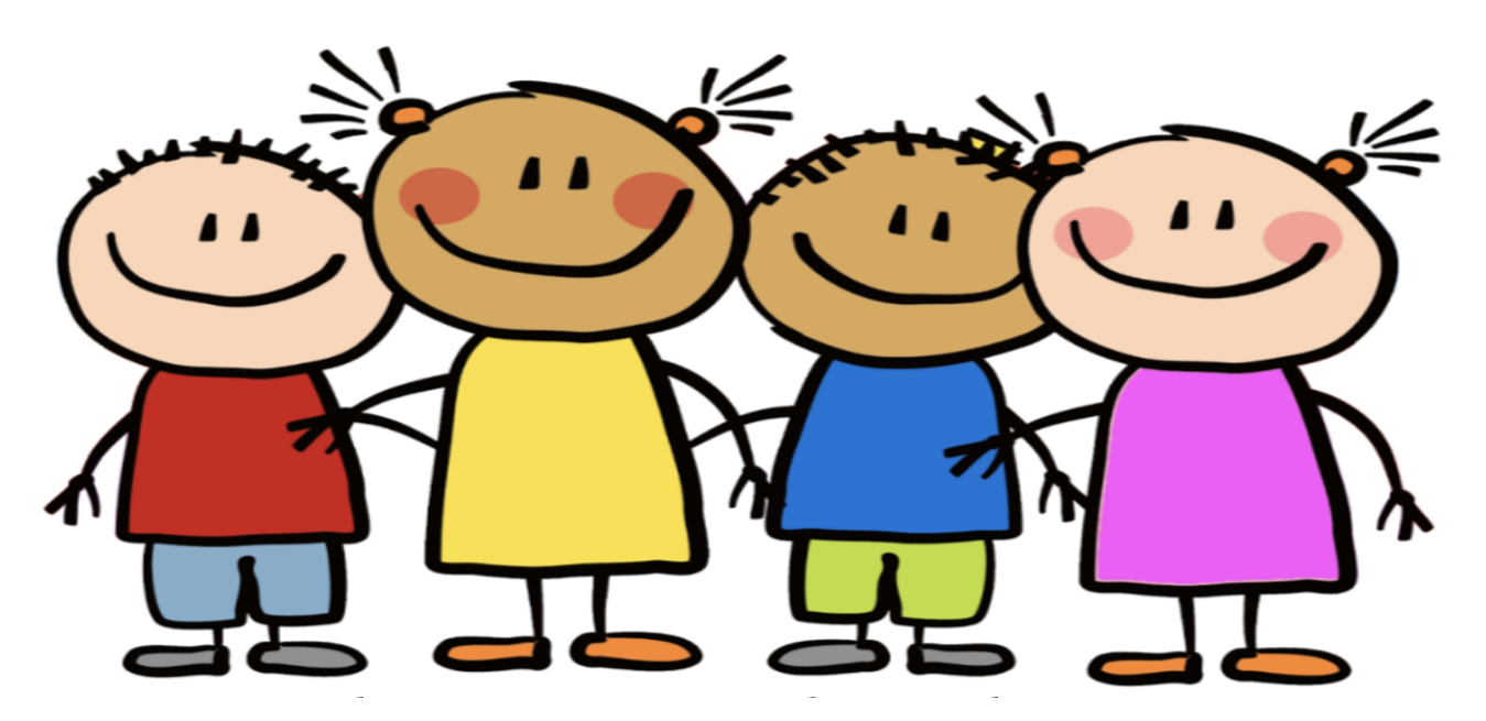 Cartoon Elementary-level student figures with smiling faces providing a welcoming message to prospective new families.