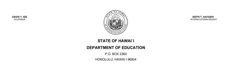 State of Hawaii DOE letterhead