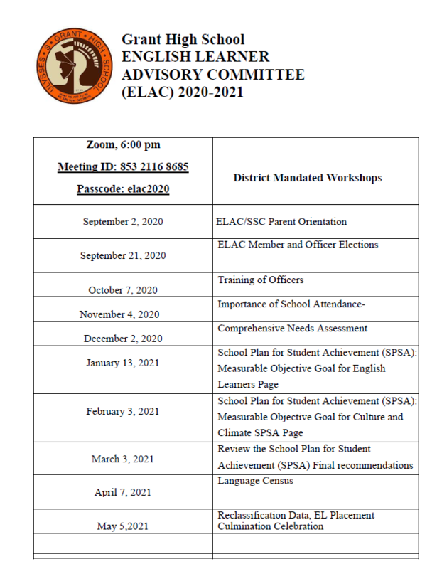 ELAC Meeting Dates Featured Photo