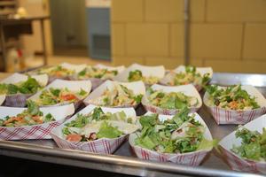 Salad in cafeteria