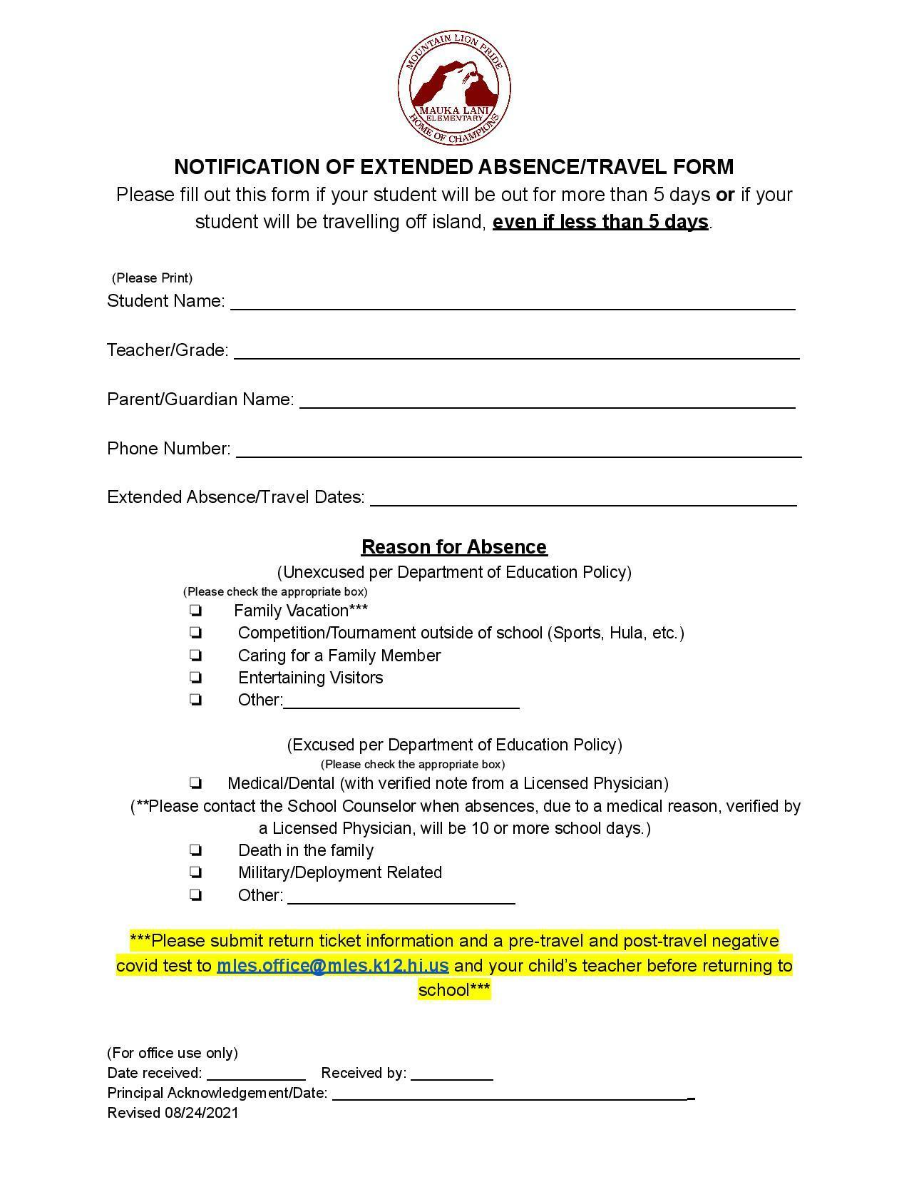 Notification of Extended Absence
