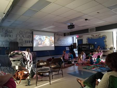 Students and Parents at Movie Night
