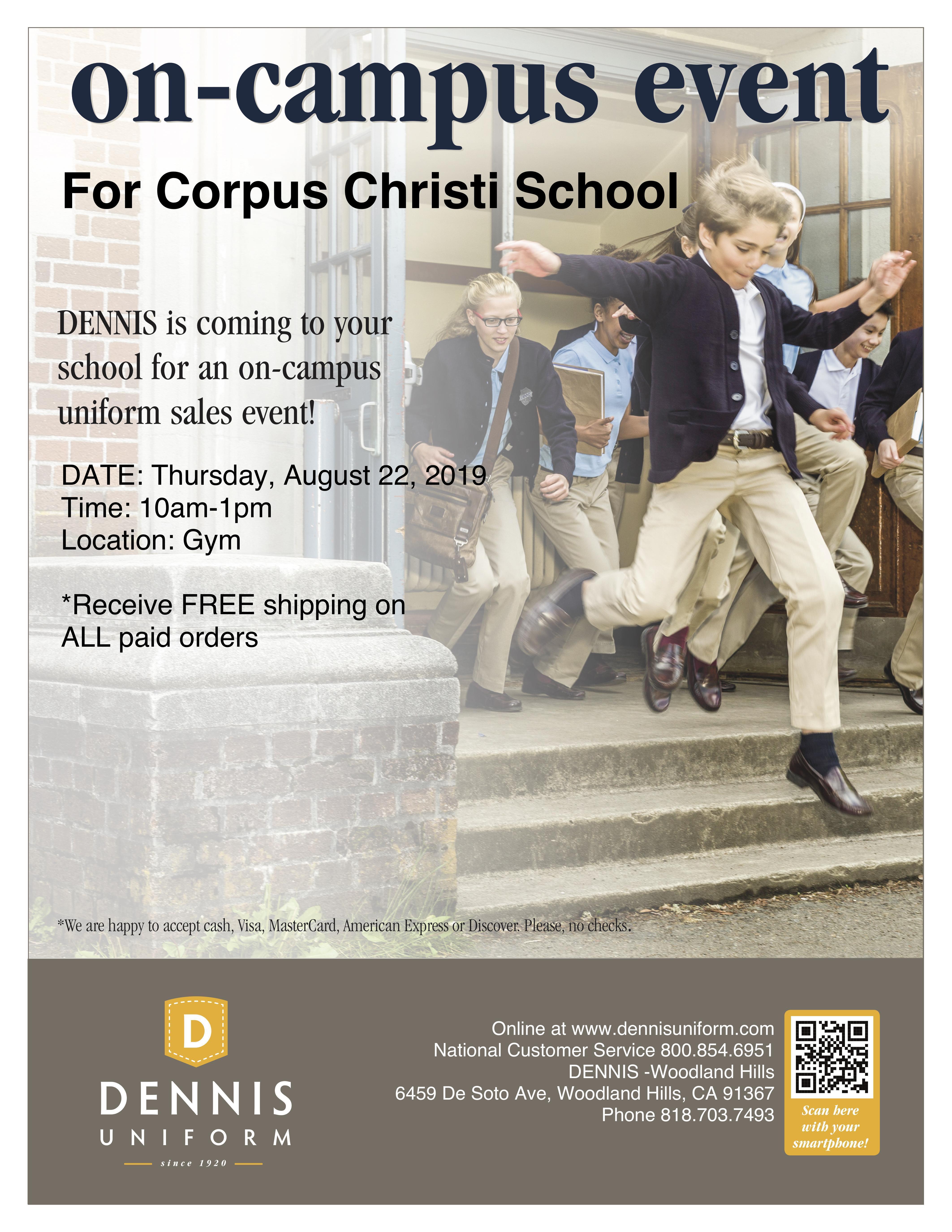 Dennis Uniform Sale on Campus! Image