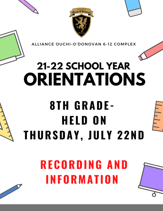 21-22 8th Grade Orientation Information (Video and Information) Thumbnail Image