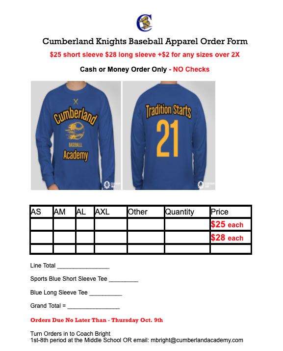 Cumberland Academy Baseball Apparel Form Featured Photo