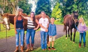 picture of Kalama family with their horse