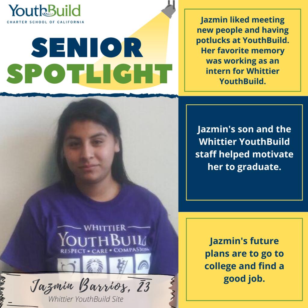 Senior Spotlight for graduate Jazmin Barrios