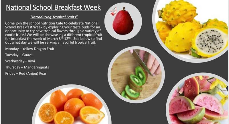 Next week is NATIONAL SCHOOL BREAKFAST WEEK! We encourage our students to try these new tropical fruits during the week. Featured Photo