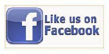 Facebook logo and saying Like us on Facebook, blue and white colors.