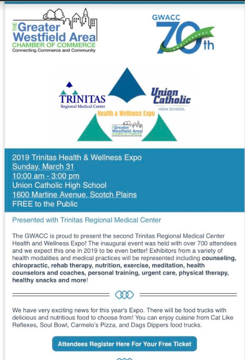 Union Catholic will host The Greater Westfield Area Chamber of Commerce Trinitas Regional Medical Center Health & Wellness Expo Thumbnail Image