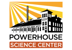 Logo of powerhouse science center showing the center in black in white with yellow sun rays beaming down on it