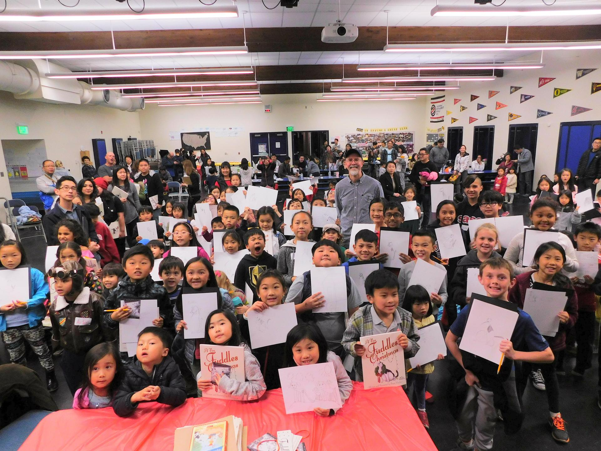 Author and illustrator Frans Vischer with Longley Way Elementary School students