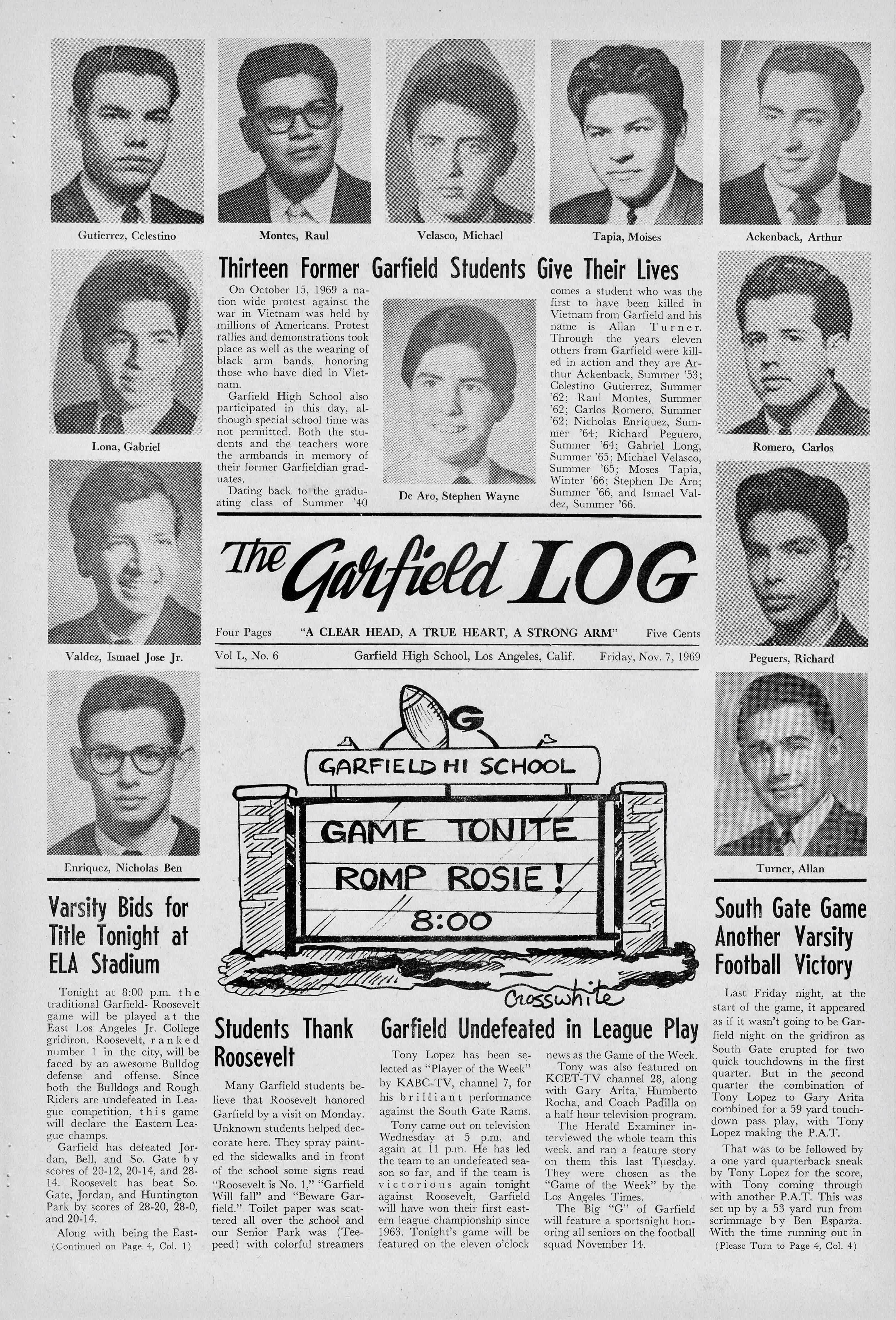 Garfield Log 1969 showing students killed in Korea and Vietnam