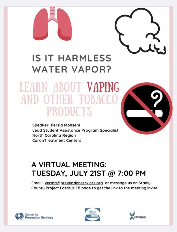 Learn about vaping and other  tobacco products at this virtual meeting on Tuesday July 21st at 7:00pm. #stayinformed #wattwatt Featured Photo