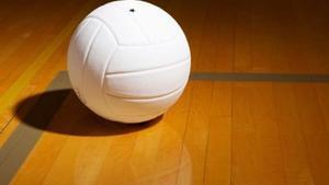 volleyball on wood floor