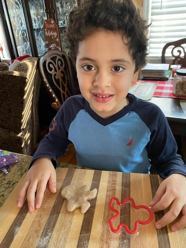 Boy sitting at table with gingerbread