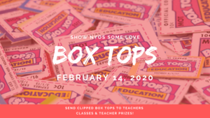 Red and pink picture showing a pile of box tops coupons